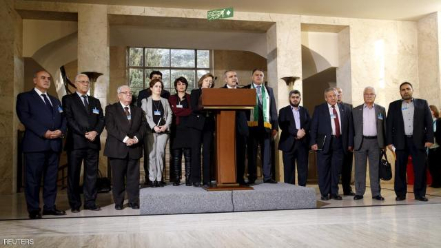 The delegation of the HNC attends a news conference after a meeting on Syria at the European headquarters of the United Nations in Geneva