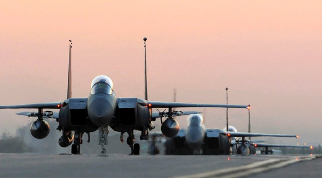 U.S. Air Force F-15E Strike Eagles from the 48th Fighter Wing taxi after landing at Incirlik Air Base, Turkey